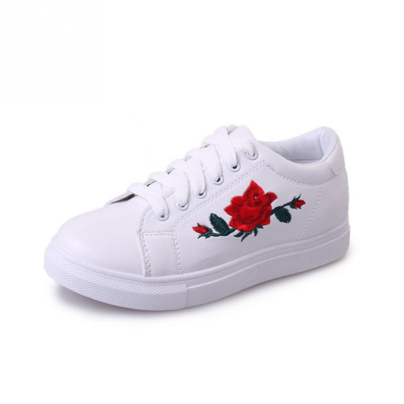 Sportive Women Flower Pattern Embroidered White PU Leather Shoes Lace Up Sneaker pu leather panel lace up flare coat