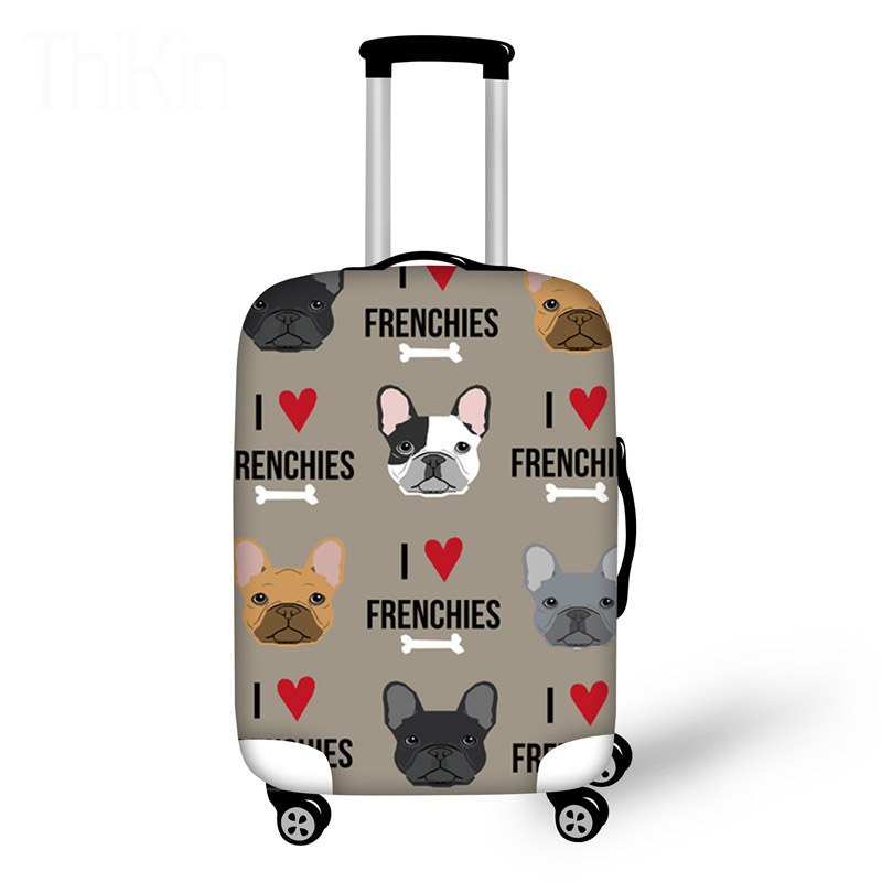 Travel Luggage Covers For Suitcase French Bulldog Printing Elastic Travel Accessories For 18-30 Inch Trolley Case Protect