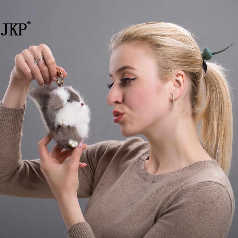 Mulheres Animal Bonito Chaveiro Bola de Cabelo Vison Real Bolsa Pingente Pom Fofo Esquilo Projeto Quente da Venda Do Carro Chaveiro