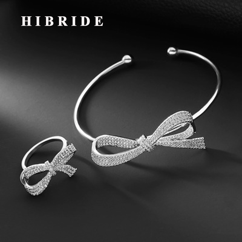 HIBRIDE Luxury Micro Cubic Zirconia Pave Bowknot Shape Open Cuff Bangle&Bracelets For Women Adjustable Ring Jewelry Set N-635
