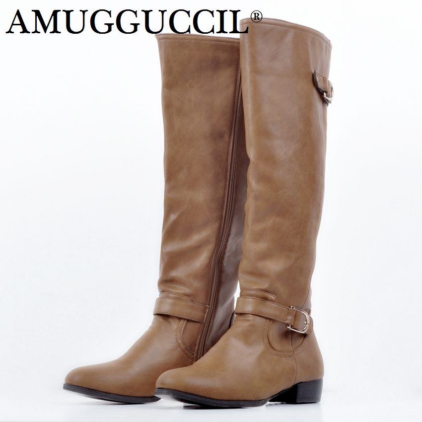 2019 New Plus Big Size 34-52 Brown Buckle Zip Knee High Spring Autumn Girl Lady Females Womens Boots X16382019 New Plus Big Size 34-52 Brown Buckle Zip Knee High Spring Autumn Girl Lady Females Womens Boots X1638