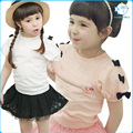 Girls Summer Casual Clothes Set Children Short Sleeve Bowknot T-shirt + Skirts Sport Suits 2016 Girl Clothing Sets for Kids