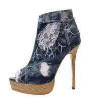 Hot Selling Classic Denim Boots Open Toe Lace Flowers Patchwork Short Booties Motorcycle Ankle Boots Embroidered