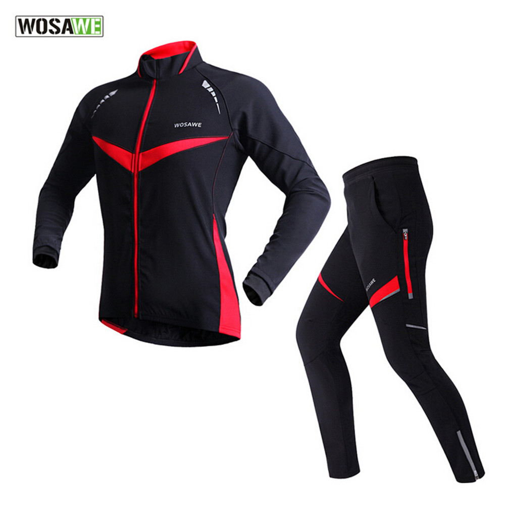 Winter Thermal Cycling Clothing Women Windproof Waterproof Reflective Jacket Sets ropa ciclismo invierno Men Long Sleeve Jackets