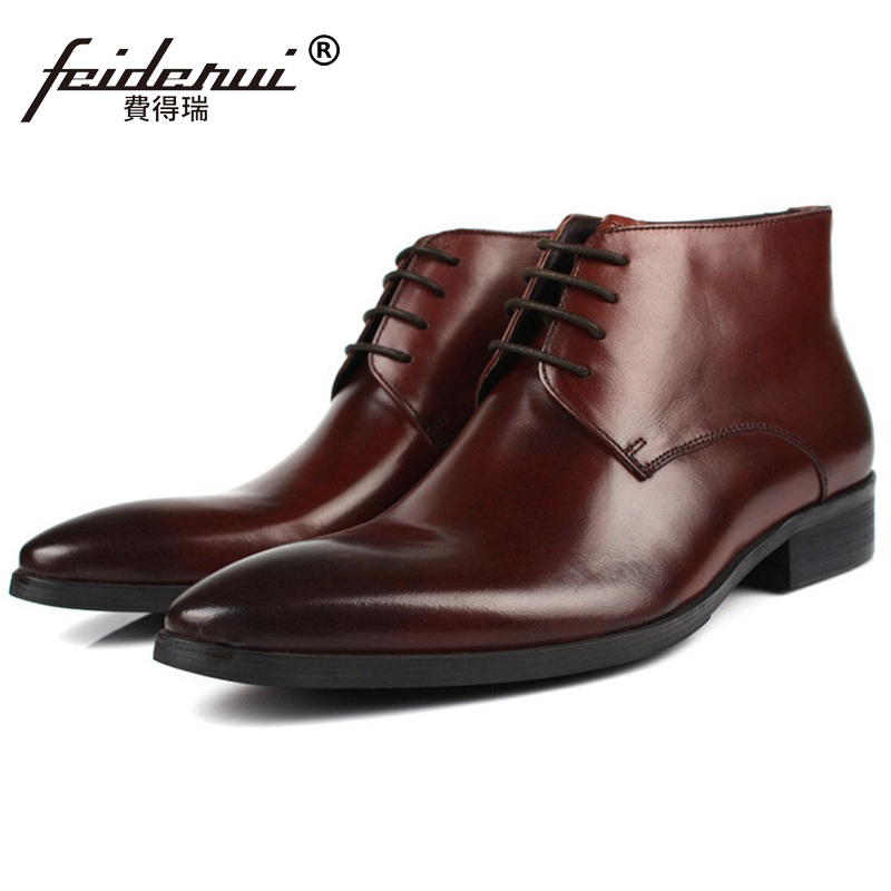 Luxury Brand Pointed Toe Man Handmade Outdoor Shoes Italian Genuine Leather Male Footwear Men's Cowboy Martin Ankle Boots PF80 serene handmade winter warm socks boots fashion british style leather retro tooling ankle men shoes size38 44 snow male footwear