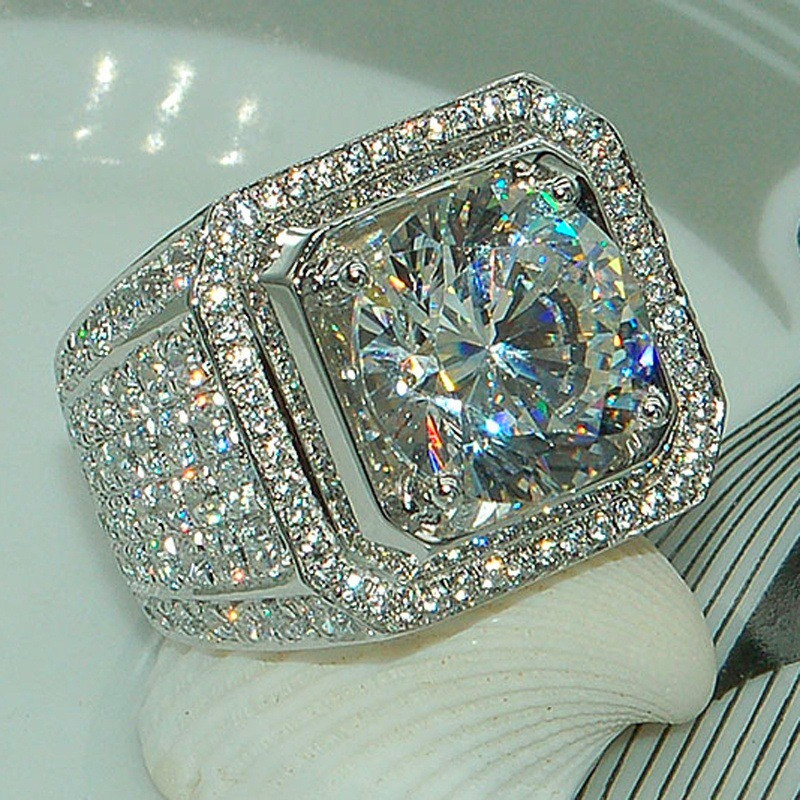 Mens Fashion Shiny Round Zircon Luxury Wedding Ring Party Jewelry Gifts Size UK