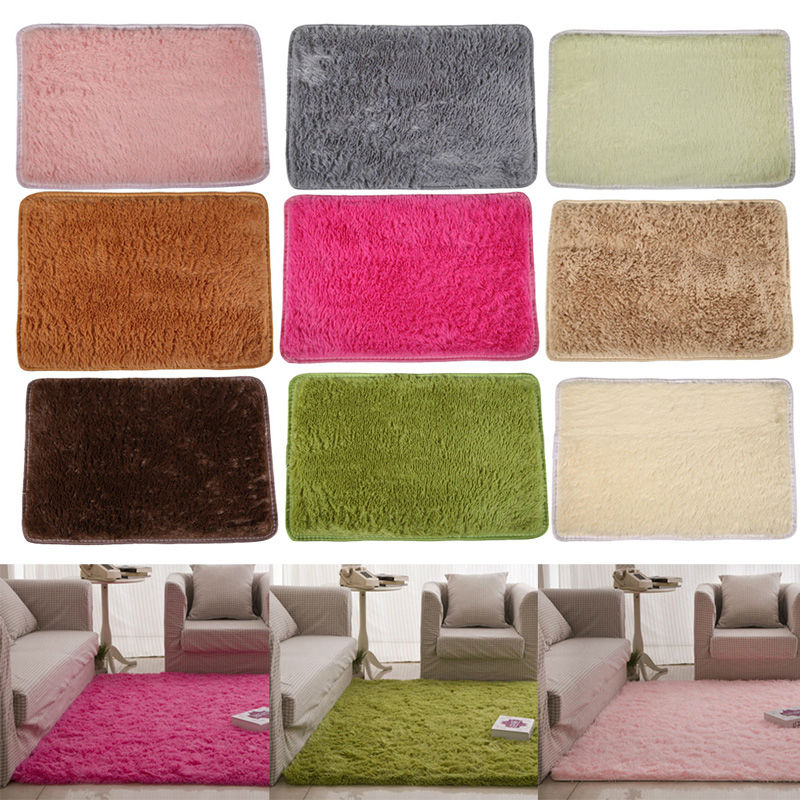 Fluffy Rugs Anti Skid Shaggy Area Dining Room Home Bedroom Carpet ...