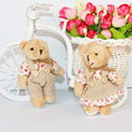 For Christmas Gift NEW 12CM 2pcs/lot pp cotton kid toys plush doll mini small teddy bear flower bouquets bear for wedding