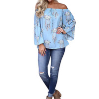 Womens Summer Off Shoulder Long Sleeve Shirt Casual Blue Blusa Tops Shirt Camisas Femininas Manga Longa