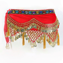 8 Colors Dancewear Training Clothing Hip Scarf 248 Gold Coins Colorful Rhinestone Adjustable Fit Velvet Belt for Belly dancing
