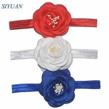 44 шт./лот атласный цветок розы повязка на голову великолепные эластичная лента FOE повязка на голову женская Подставки для фотографий 22 Цвет для Палочки HB026