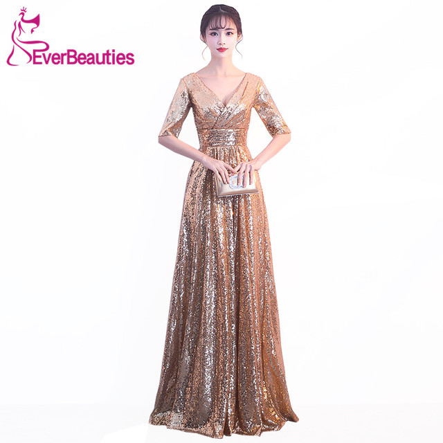 Evening Dress 2018 V Neck Luxury Sequin Gowns Long Sleeves Wedding