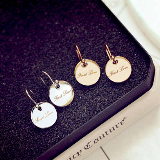 Fashion Sweet Simple smooth Round Wafer Drpop Earrings Medallion Letter First Love Earrings Women Girl Jewelry Rose gold Color