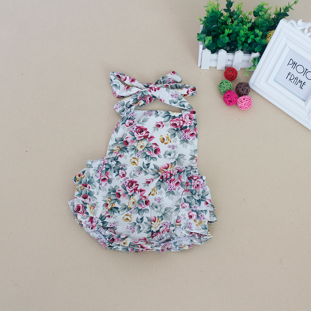 Hot Baby Rompers Girl Bloomer Ruffle Romper Cut Kids Top Shirt Cotton flowers Sunsuit Baby Sleeper