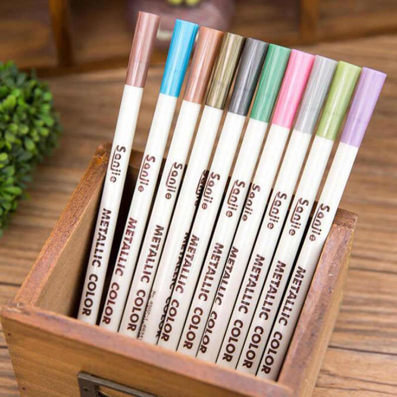 1 pc de pintura de la pluma DIY álbum de fotos mano cuenta Color de la pluma de Metal de Color de la perla de la boda en Graffiti bolígrafo papelería