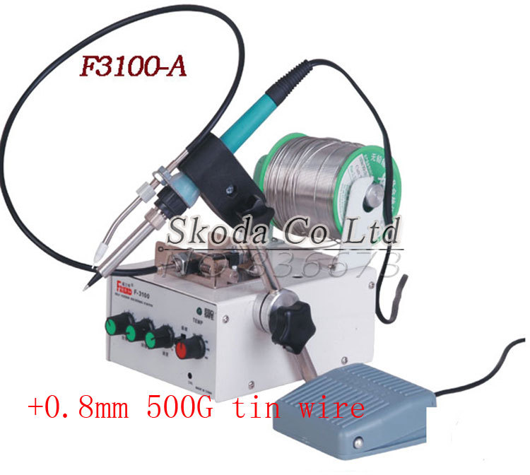 Automatic feeding tin thermostatic soldering station F3100A 50W  multi-function foot soldering machine+500G tin wire automatic tin feeding machine constant temperature soldering iron teclast multi function foot soldering machine f3100a