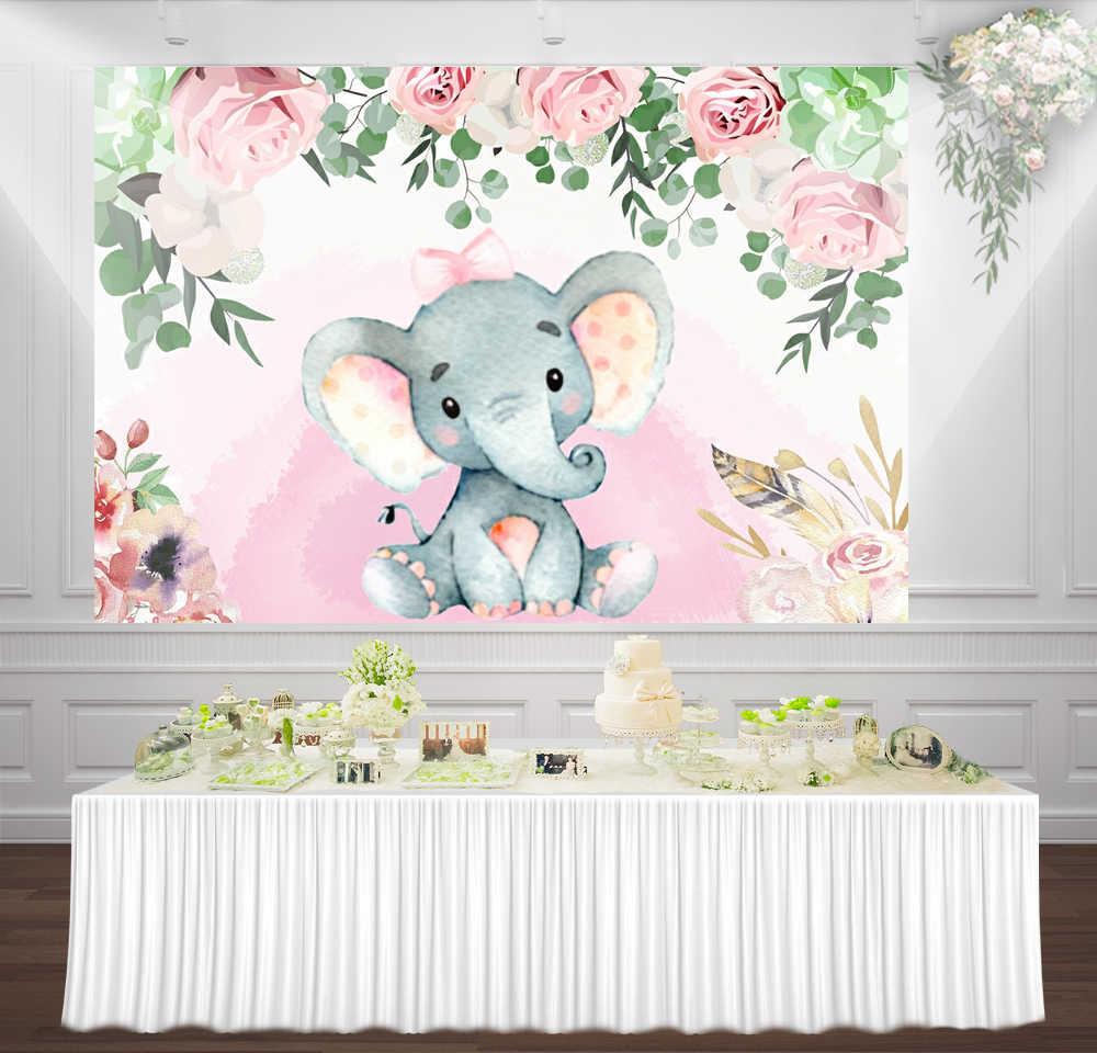 Decoracion Mesa De Baby Shower Nina.Huayi Rosa Floral Elefante Nina Baby Shower Telon De Fondo