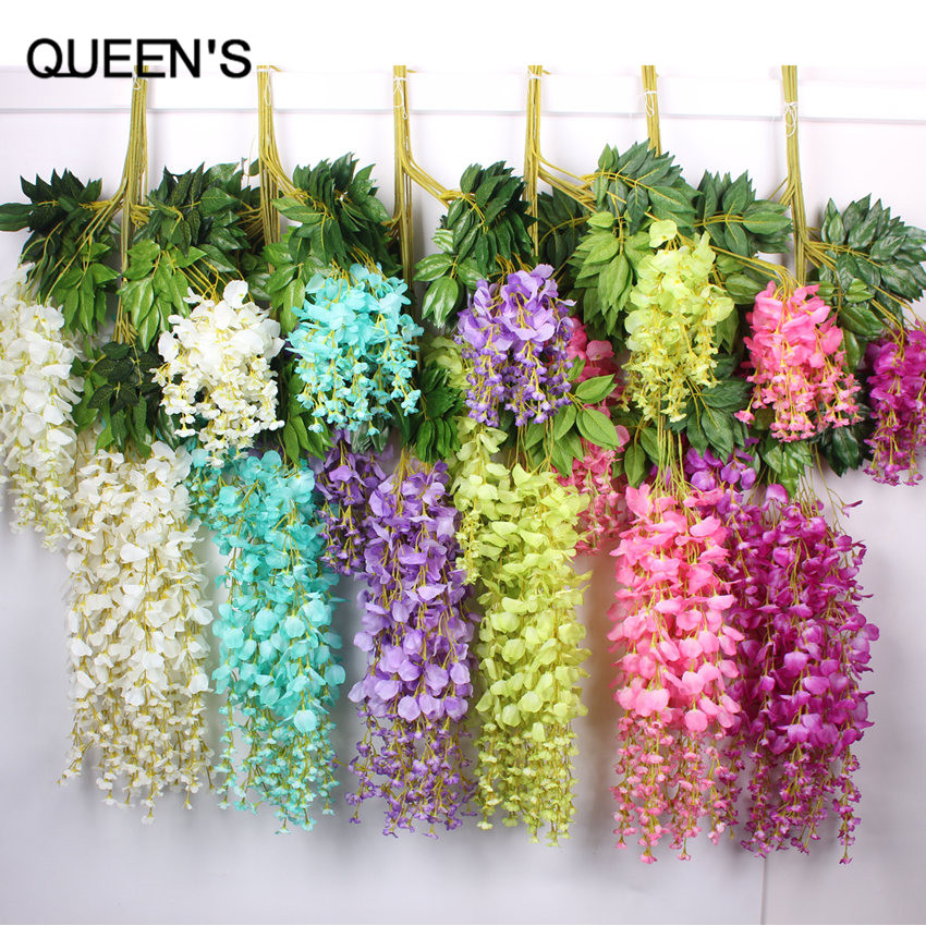 110cm silk wisteria garland artificial wisteria flower for Artificial flower for wedding decoration