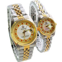 HK Luxury Brand REGINALD Fashion Rhinestone Man Woman Lovers Quartz Calendar Top Quality Watch Stainless Gold