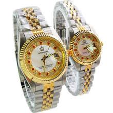 HK Marca de Moda de Lujo Rhinestone Hombre Mujer Amantes de cuarzo Reloj Del Calendario Vestido de Oro de acero Inoxidable relojes de Pulsera de Calidad Superior