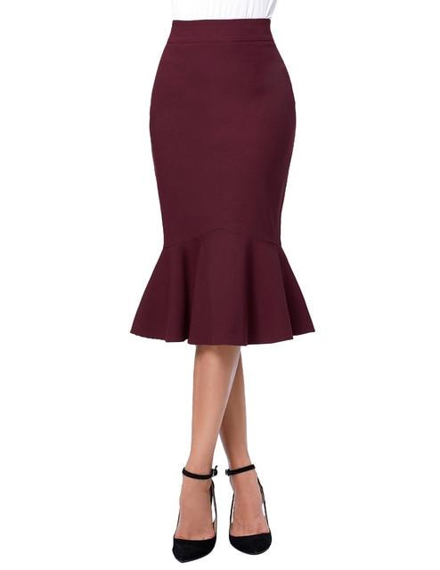 2017 Skirts Faldas Women's Fashion OL Causal Mermaid Dark Wine Black Pencil Skirt Jupe Longue High Waist Sexy Long Skirt