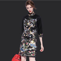 2015 Spring Heavy Birds Embroidery Cheongsam Dress Big Yards Collar National Wind High End Women S