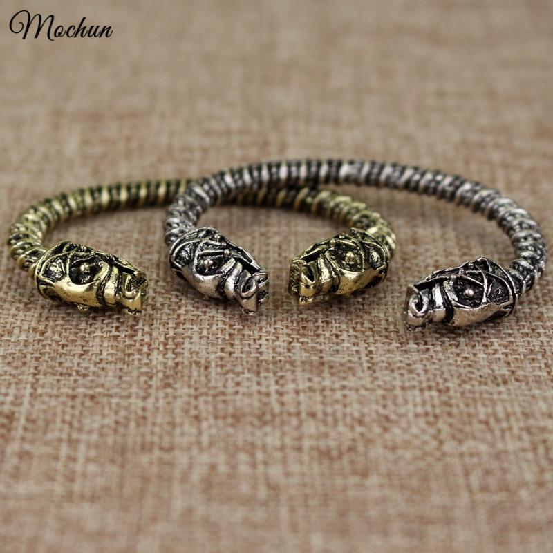 MQCHUN Viking Yang gelang dua Kepala Serigala Fenrir Viking Logo Mens Gelang Perhiasan Maxi Pria Pagan Bangles Perhiasan ...