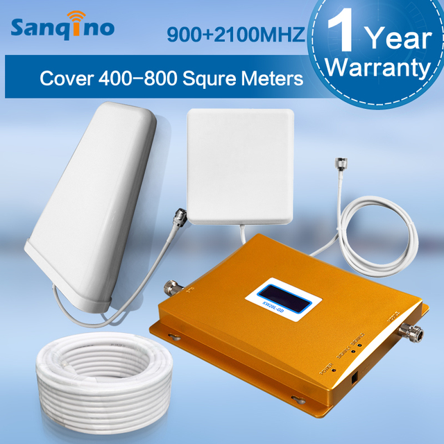 Sanqino ЖК-Дисплей GSM900 GSM2100 GSM Репитер 3 Г 2100 МГц Dual Band Мобильный Телефон Усилитель Сигнала 900 2100 Мобильный сигнал Повторителя