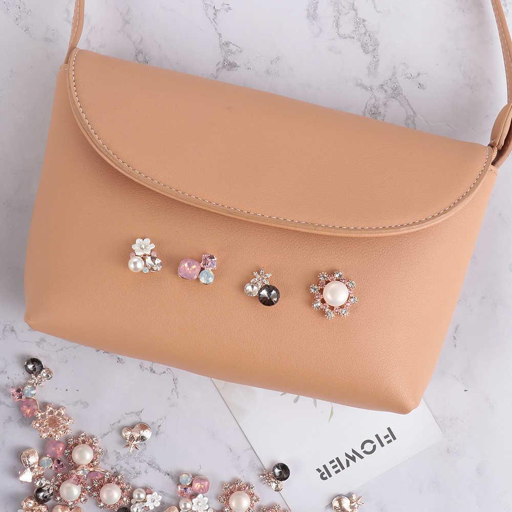 Mode créatif 10 pièces fleur strass boutons Flatback placage perle épingle à cheveux décoration artisanat bricolage vêtements accessoires de couture