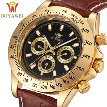 купить 2016 NEWEST OUYAWEI Gold mechanical watch Top Brand Luxury army wrist watches for men 22mm leather skeleton reloj hombre по цене 1667.37 рублей