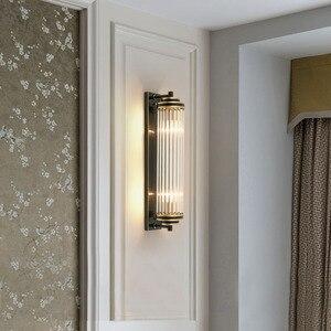Image 1 - Cristal verre abat jour applique murale chevet pour chambre LED moderne luxe or noir lampes luminaires dintérieur salon éclairage à la maison