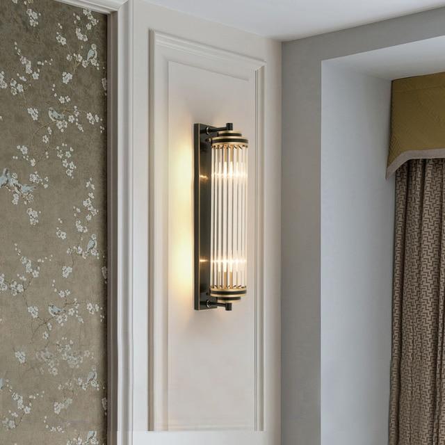 Cristal verre abat jour applique murale chevet pour chambre LED moderne luxe or noir lampes luminaires dintérieur salon éclairage à la maison