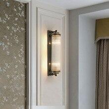 Kristal cam gölge duvar lambası başucu yatak odası için LED Modern lüks altın siyah lambalar kapalı fikstür oturma odası ev aydınlatma