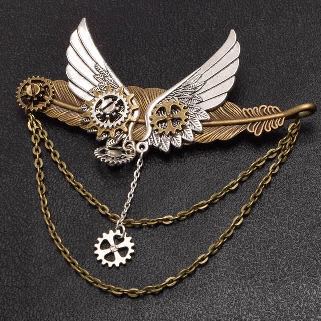 Стимпанк заколка крылья с шестерёнками в ассортименте 4