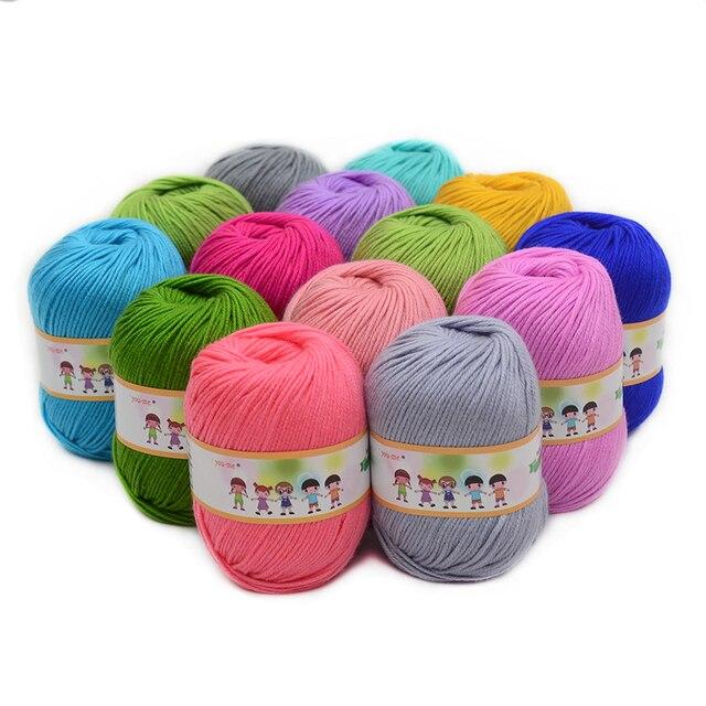5c7ab2f2b2a9 10pcs Hot Sale Multi Color Cotton Silk Knitting Yarn Soft Warm Baby ...
