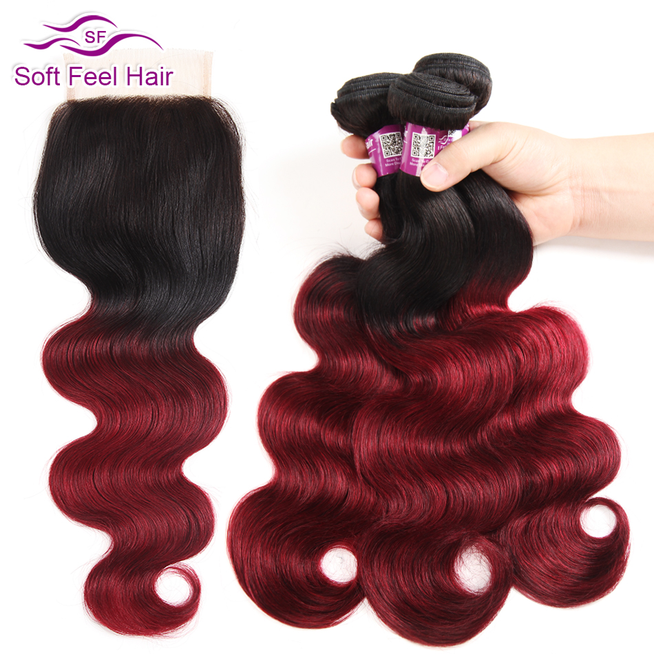 Soft Feel Hair Remy Ombre Bundles With Closure 1B Burgundy 99J Red Ombre Peruvian Body Wave
