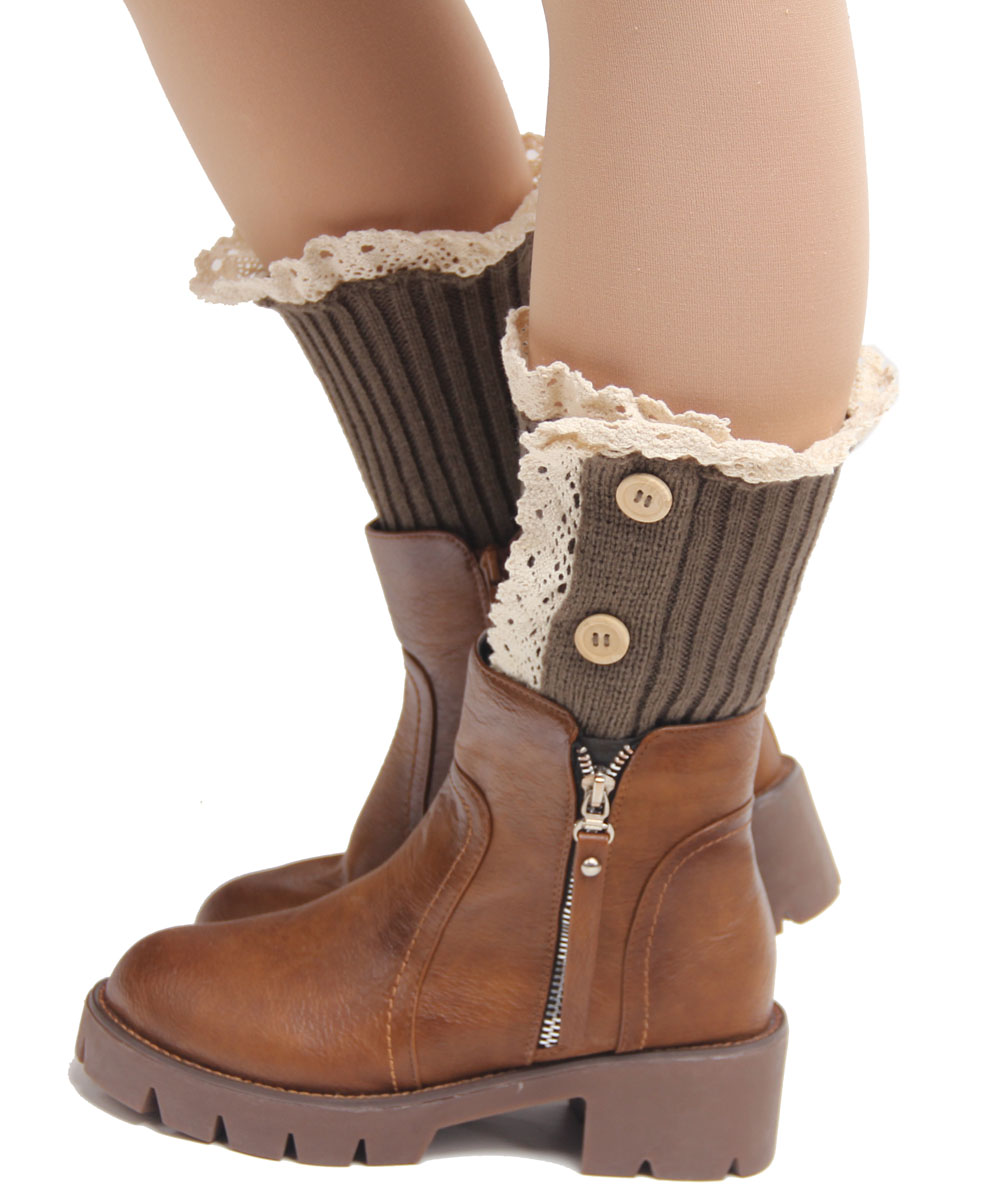women girls knit boot cuffs acrylic cable pattern lace boot socks 3 ...
