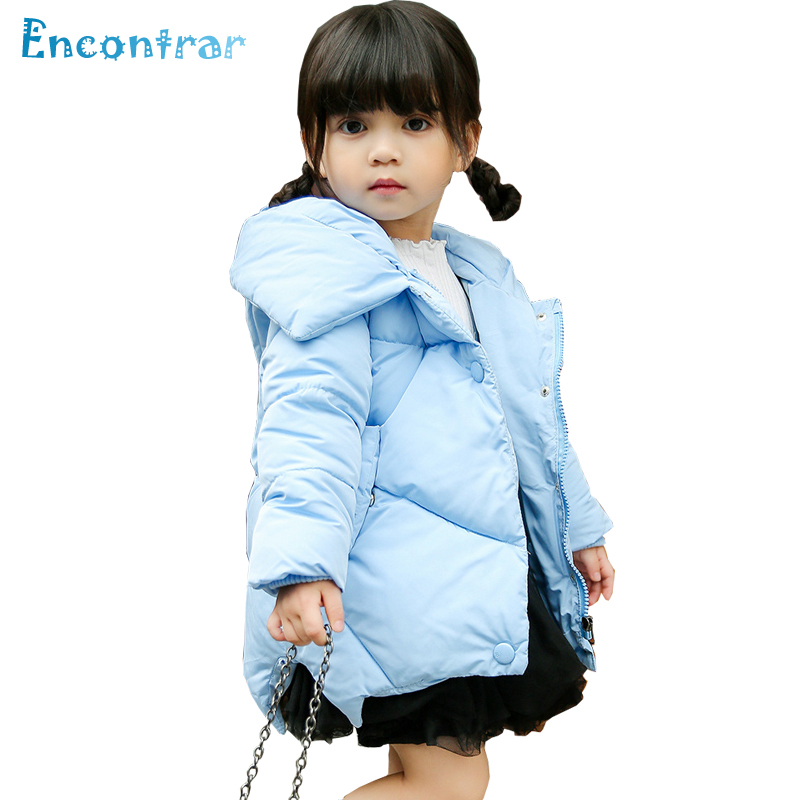Encontrar Winter Cotton Outerwear for Girl Solid Button Hooded Parkas Coats for Children Kids Princess Style Jacket 24M-8T,DC261
