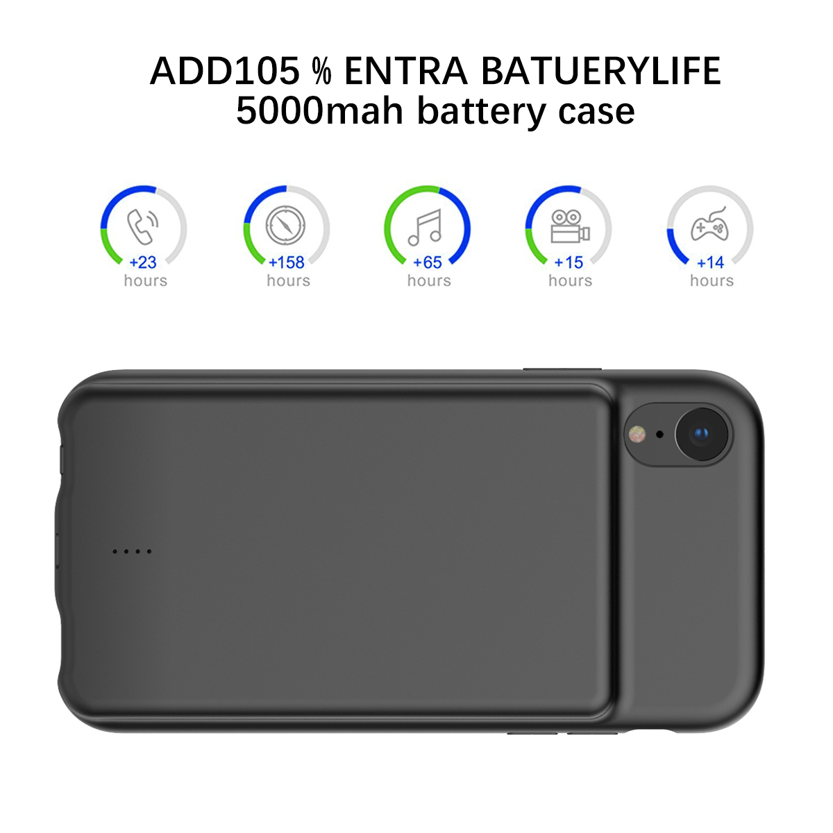 For Iphone Xr Battery Charger Phone Case With Audio 5000mah External Backup Charger Power Bank Protective Phone Shell Cover Cellphones & Telecommunications
