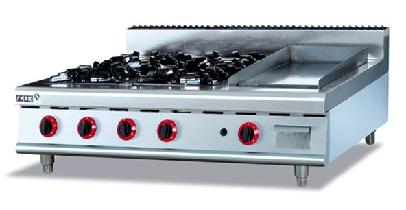 stainless steel gas range 4burners and top commericial gas