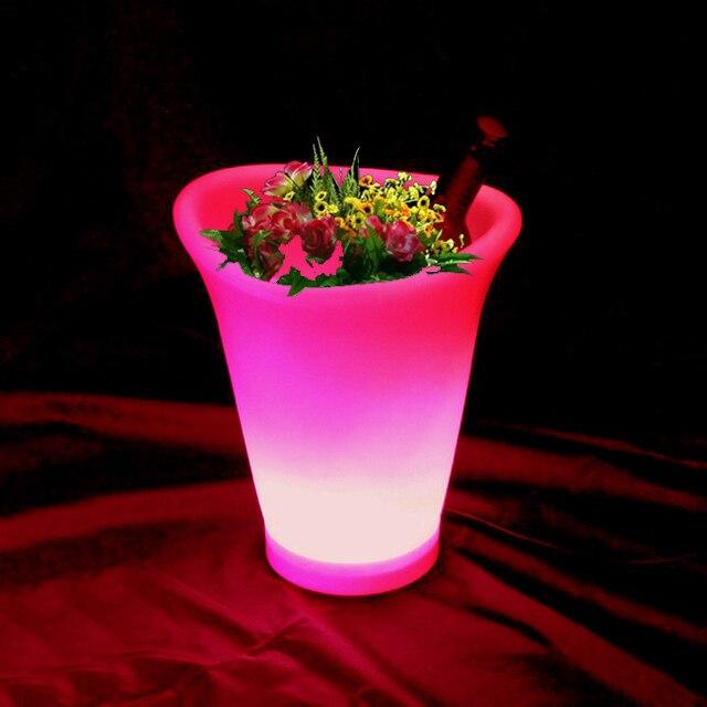 skybesstech led planteur de fleur pot seau glace lumineux clairage bar meubles avec un pot