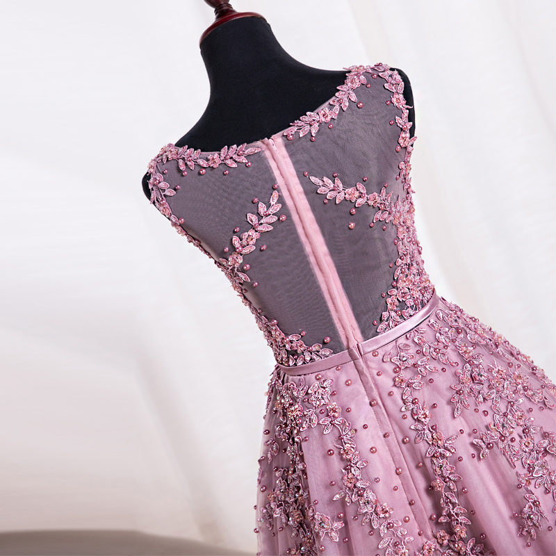 Pink Lace Cocktail Dress Real Samples Scoop Sleeveless Appliques ...