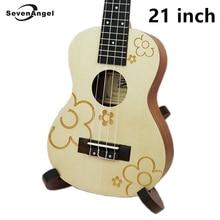 SevenAngel 21″ Ukulele Acoustic guitar Rosewood Fretboard 4 strings Plum blossom pattern Electric Ukulele with Pickup EQ
