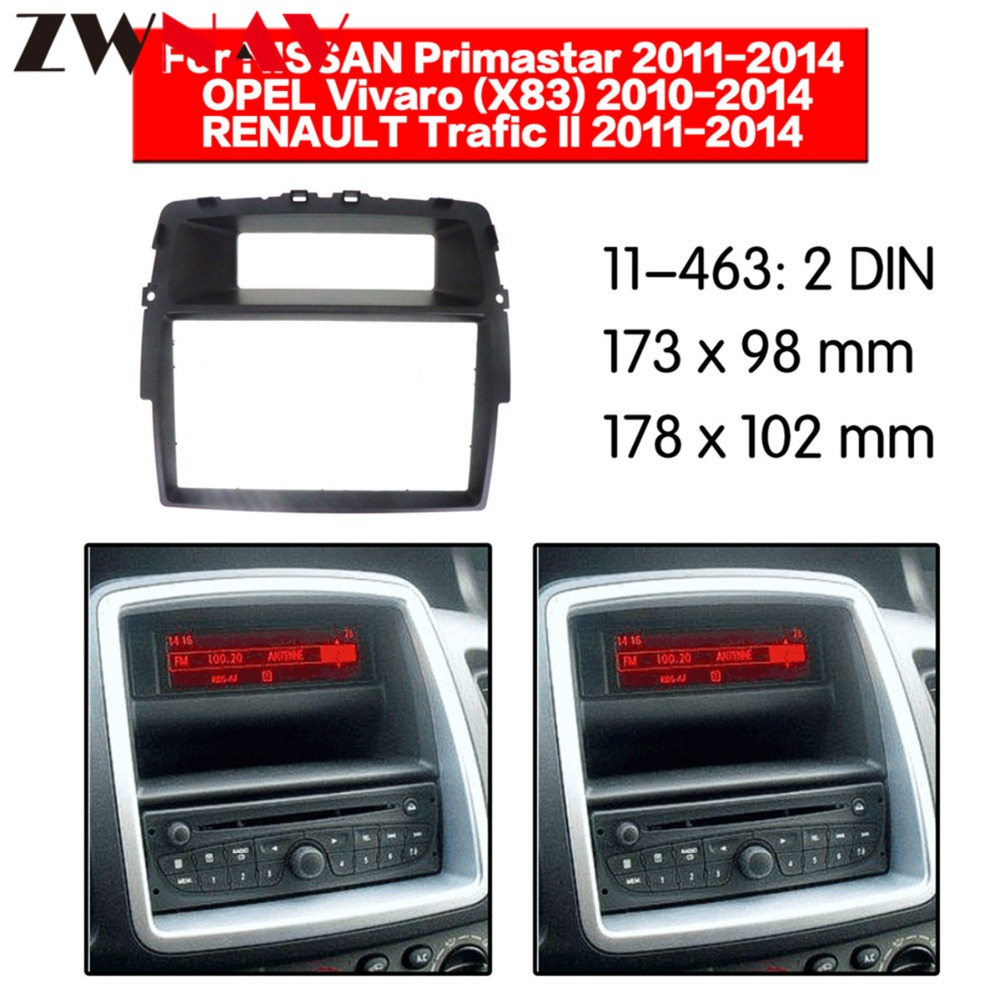 Car DVD Player frame For NISSAN Primastar 2011 2014 / OPEL Vivaro 2010 2014 2DIN Auto AC Black LHD RHD Auto Radio Multimedia-in Fascias from Automobiles & Motorcycles    1