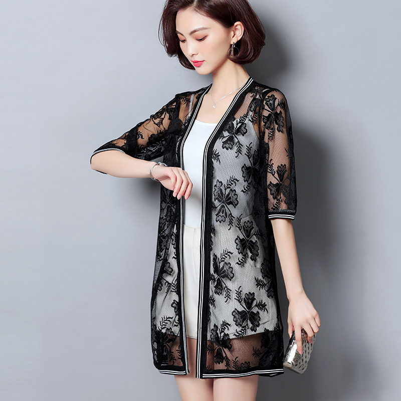 eef2df4e7640d Fashion plus size women jacket summer clothes 2018 sexy hollow lace ...