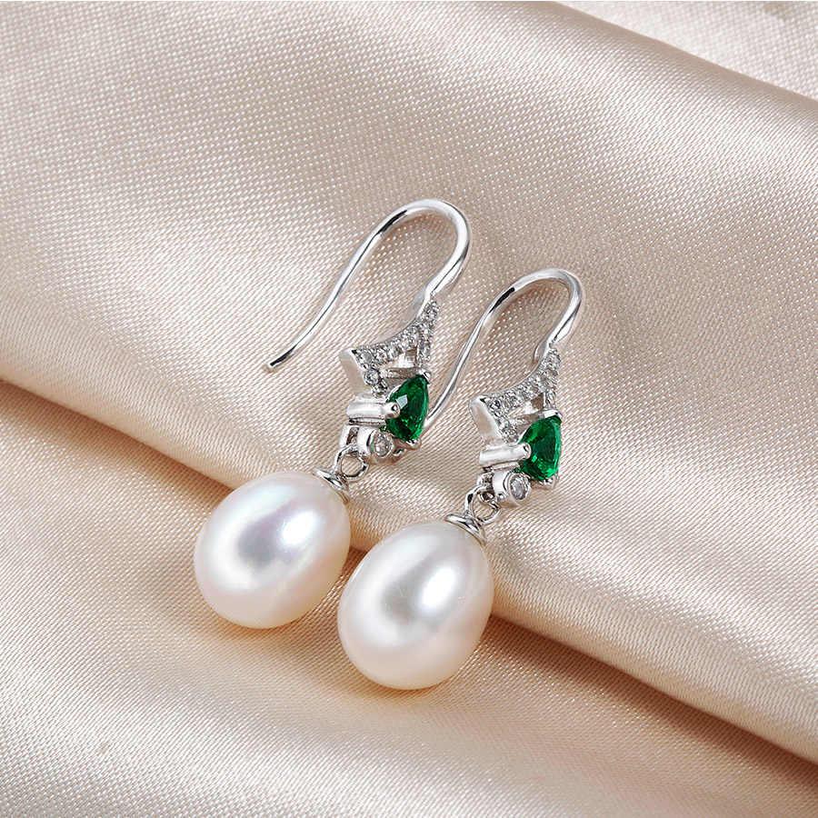 יוקרה קריסטל 5A טבעי מים מתוקים פרל תכשיטי סטים לנשים אופנה 925 כסף סטרלינג חתונת עגילים + שרשרת 2 חתיכות