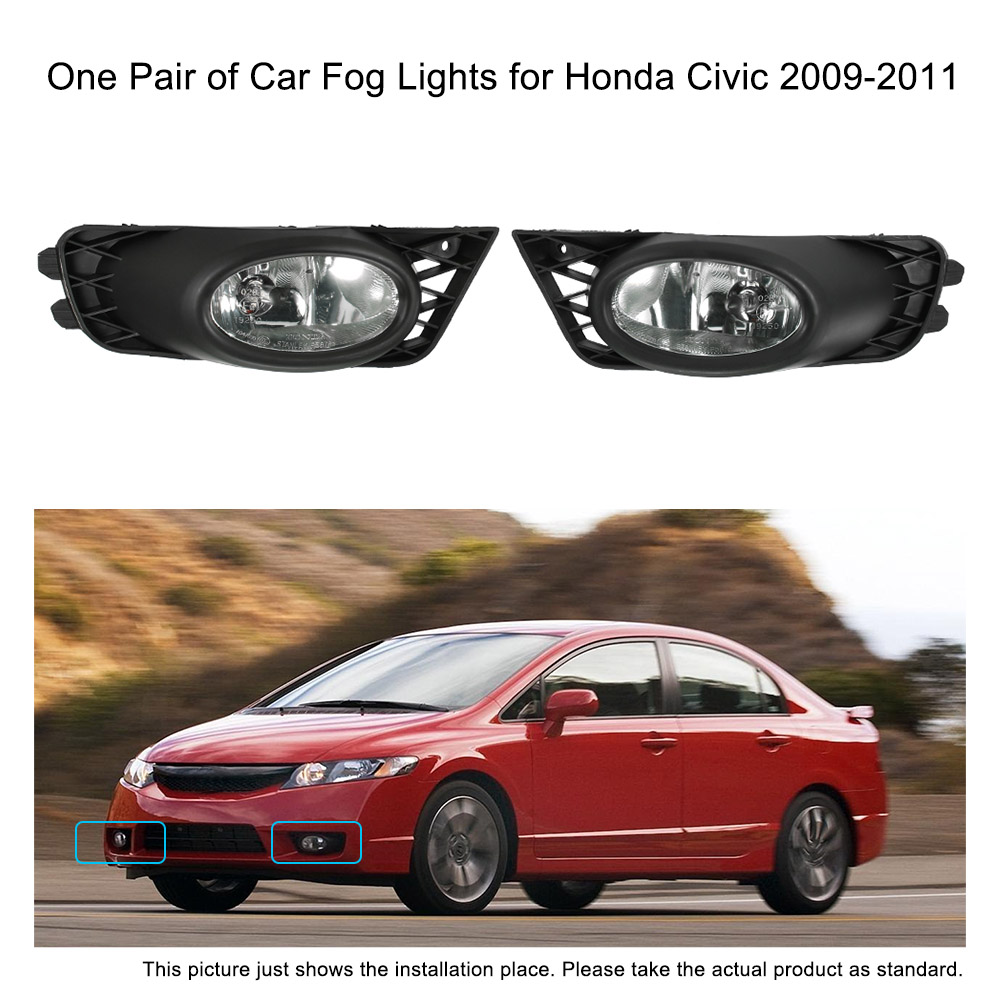 Car-styling LED One Pair of Bumper Grille Fog Lights LED Lamp with Wiring Relay Switch Kit for Honda Civic 2009-2011 Auto led rear bumper warning lights car brake lamp cob running light led turn light for honda civic 2016 one pair