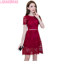 LUKAXSIKAX FASHION 2018 New Women Summer Dress High Quality Wine Red Lace Runway Dress Sexy Hollow Out Evening Party Dresses