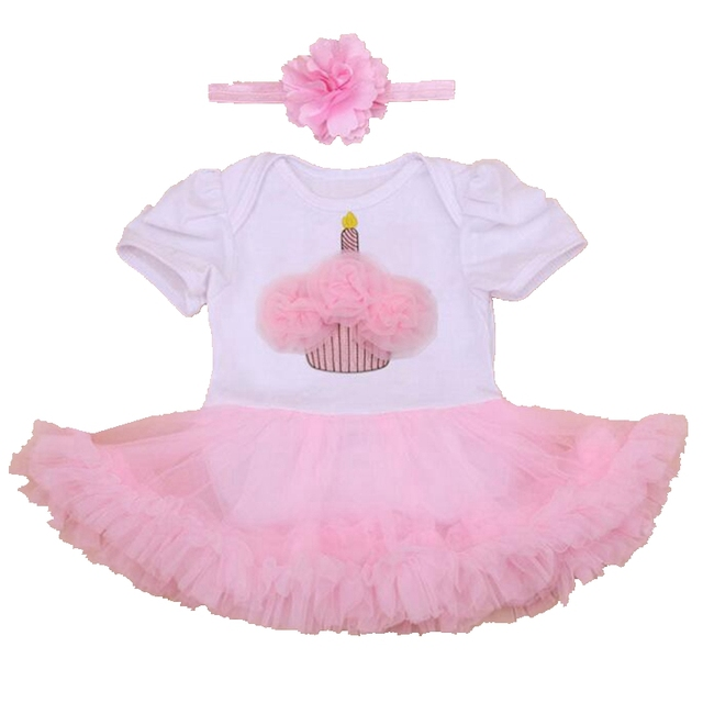 Cake Applique Birthday Tutu Outfits Pink Lace Romper White Party Dresses Ropa De Bebe Baby Girl Summer Clothes Infant Clothing
