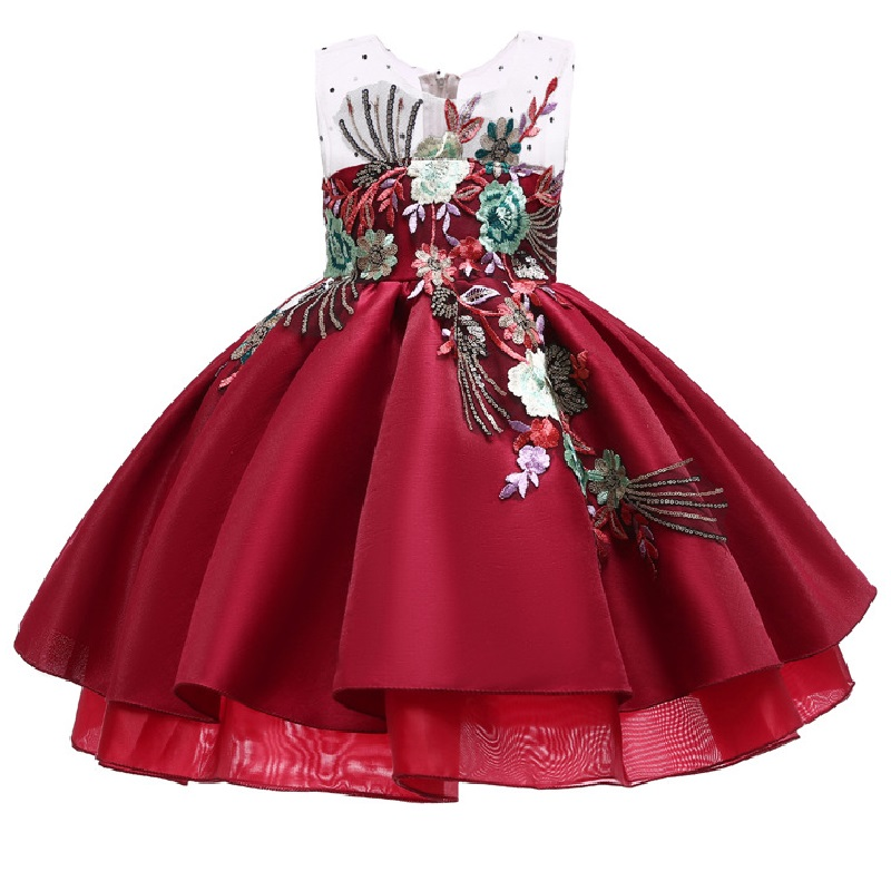 Flower     Girl   Romantic Wedding Wine Red Embroidery Party   Dress     Girl   Princess banquet New Big Butterfly Bow Birthday Party   Dress